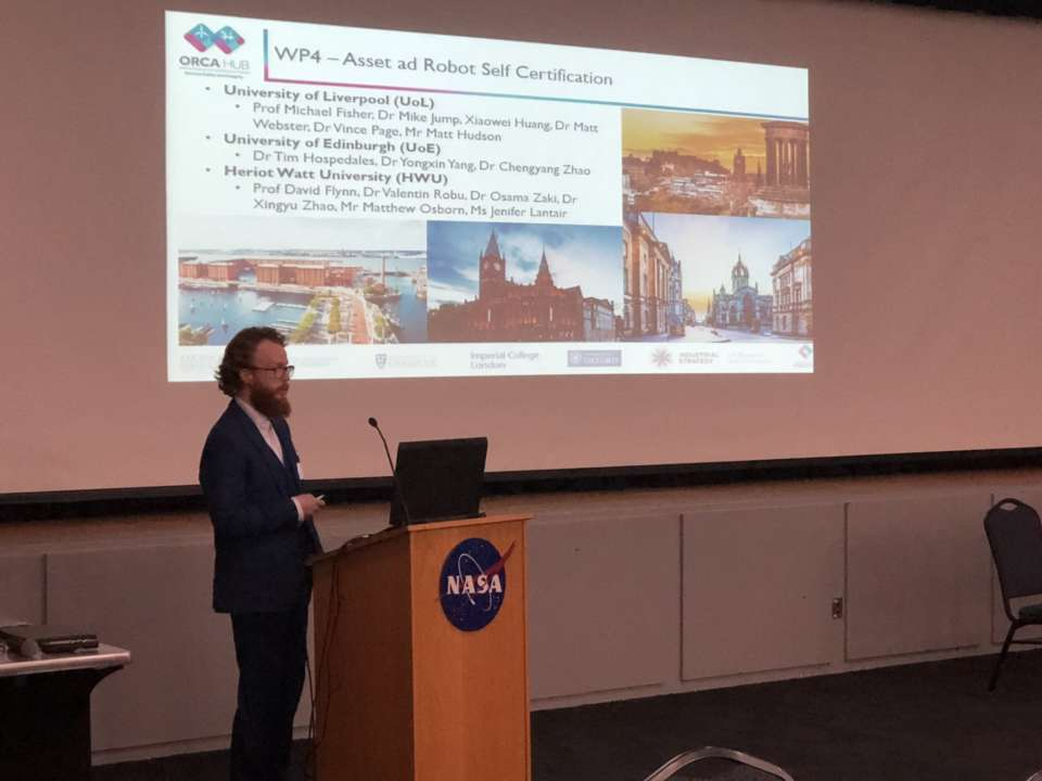 Dr. Vincent Page presents ORCA's Asset and Robot Self Certification work at NASA.