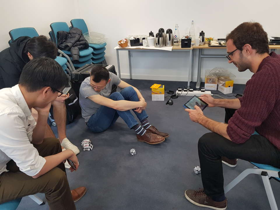 Members of the Exhibition team from Imperial College London practise with the Cozmo robots which will feature in 'Robots in the Danger Zone' at our Audience & Engagement Training day.