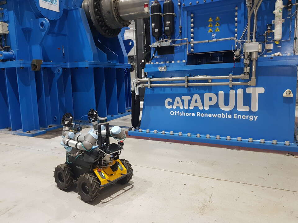 Husky robot during 2019 trials at ORE Catapult in Blyth
