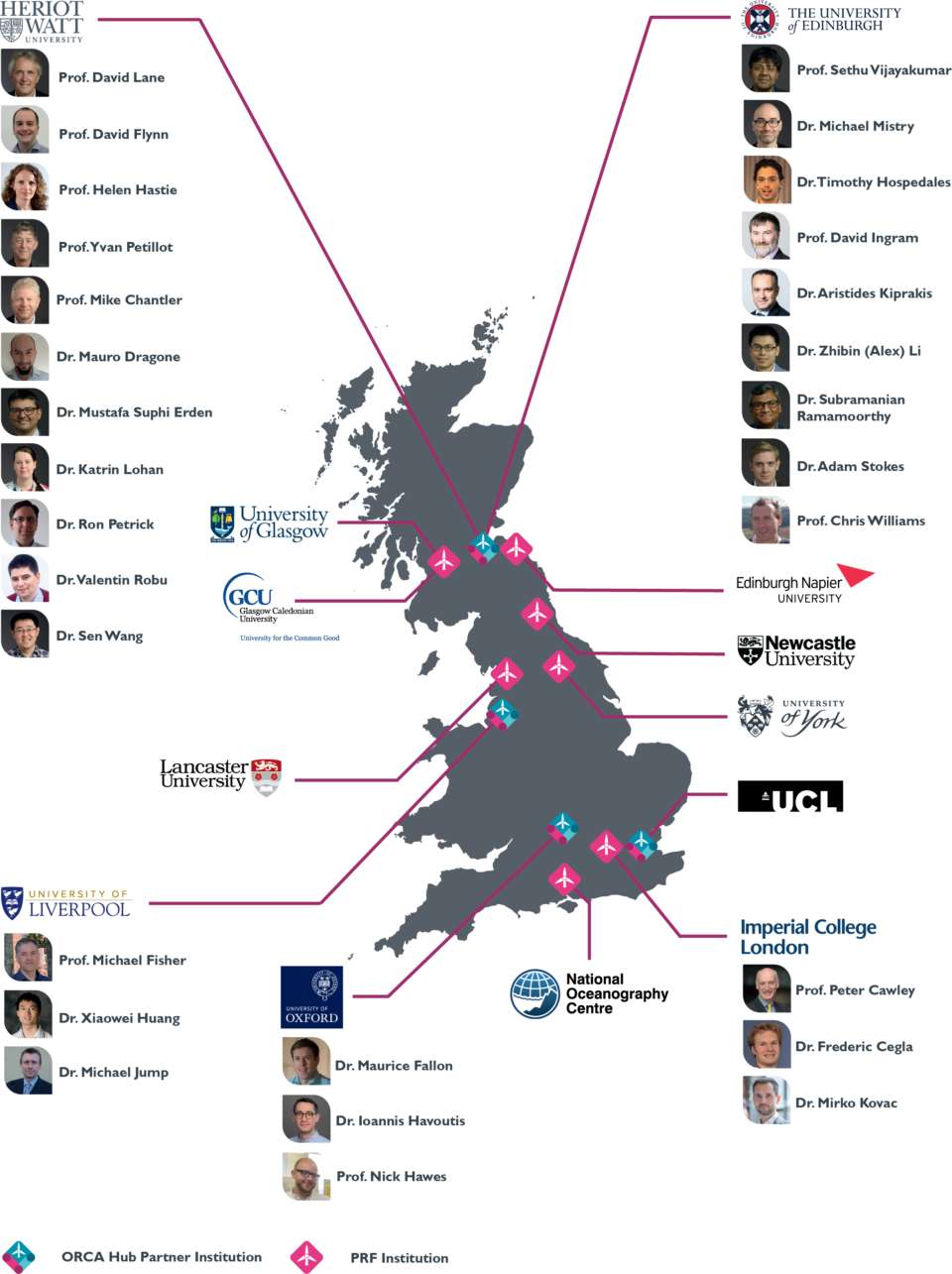 Map of ORCA partner institutions and academics