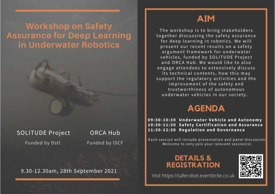 Workshop on Safety of Underwater Robots and Deep Learning